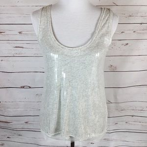 J. Crew Light Grey Tank W/Clear Sequins. Size XS